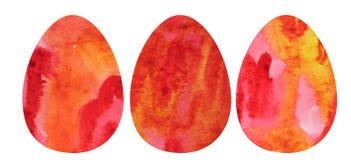 Mão que afoga um grupo da aquarela de três ovos da páscoa ilustração stock