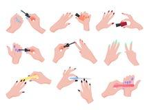 Mão que aplica o grupo do verniz para as unhas Coleção da mão que faz o tratamento de mãos ilustração stock