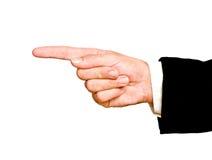 Mão que aponta à esquerda Foto de Stock
