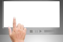 Mão que aponta na tela em branco branca Imagem de Stock
