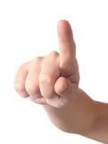 Mão que aponta no visor Fotos de Stock Royalty Free