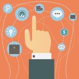 A mão que aponta o indicador paira sobre o vetor múltiplo dos ícones Conceito da escolha Fotos de Stock Royalty Free