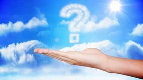 Mão que apresenta o projeto da nuvem do ponto de interrogação ilustração royalty free