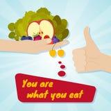 Mão que dá comer saudável Conceito da escolha do alimento Você é o que você come ilustração do vetor