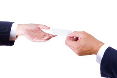 Mão que dá o cartão conhecido Foto de Stock