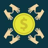 Mão que dá o vetor dourado da moeda ilustração royalty free