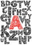 Mão que desenha o alfabeto decorativo Imagens de Stock