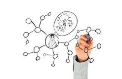 Mão que desenha a rede social Imagens de Stock