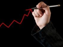 Mão que desenha um gráfico Fotografia de Stock Royalty Free
