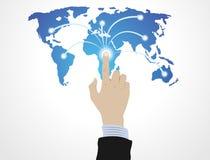 Mão que empurra o globo ilustração royalty free