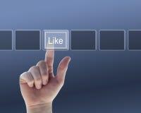 Mão que empurra a tecla dos The Like Foto de Stock