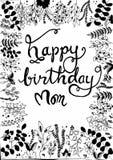 Mão que escreve o feliz aniversario ilustração stock