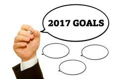 Mão que escreve 2017 objetivos Fotos de Stock Royalty Free