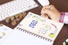 Mão que escreve a vista superior de SEO Foto de Stock