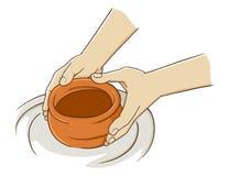 Mão que faz a cerâmica da argila Fotos de Stock Royalty Free