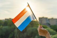 Mão que guarda a bandeira holandesa uma janela aberta Céu azul do fundo, silhueta da cidade, por do sol foto de stock royalty free