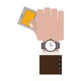 Mão que guarda a calculadora cinzenta do escritório com relógio ilustração stock