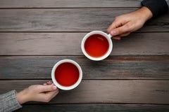 Mão que guarda copos do chá Imagem de Stock Royalty Free