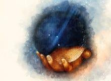 Mão que guarda Crystal Ball Detalhe de minha própria reprodução do salvador da pintura de Leonardo DaVinci do mundo fractal fotografia de stock royalty free