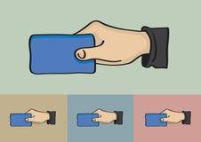 Mão que guarda a ilustração do vetor do cartão Fotografia de Stock Royalty Free