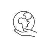Mão que guarda a linha ícone da terra Imagens de Stock Royalty Free