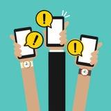 Mão que guarda a marca de advertência móvel e amarela A atenção do aviso do perigo assina em uma bolha do discurso ou em notifica ilustração royalty free