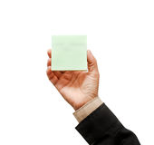 Mão que guarda a nota de post-it fotografia de stock royalty free