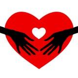 Mão que guarda o ícone do coração, Fotografia de Stock Royalty Free