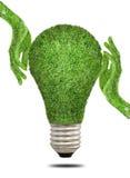 Mão que guarda o conceito da energia da ampola da ecologia Foto de Stock Royalty Free