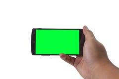 Mão que guarda o conceito móvel de smartphone Fotografia de Stock