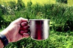 Mão que guarda o copo inoxidável com fundo borrado do jardim fotos de stock royalty free