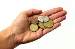 Mão que guarda o dinheiro de Nova Zelândia Fotografia de Stock
