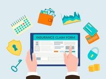 A mão que guarda o dispositivo, seguro do formulário em linha, símbolos do seguro ilustração do vetor