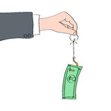 Mão que guarda o gancho com nota da moeda como a isca Imagem de Stock Royalty Free