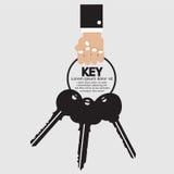 Mão que guarda o grupo chave Fotografia de Stock Royalty Free