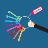 Mão que guarda o grupo de chaves do fator de sucesso Fotografia de Stock Royalty Free