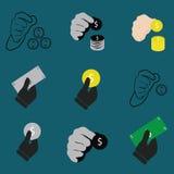 Mão que guarda o grupo do dinheiro e do ícone ilustração stock