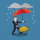 Mão que guarda o guarda-chuva para proteger o dinheiro Ilustração do vetor para o conceito financeiro das economias Imagem de Stock Royalty Free