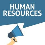 Mão que guarda o megafone com anúncio dos RECURSOS HUMANOS ilustração royalty free