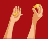 Mão que guarda o ouro Foto de Stock Royalty Free