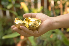 Mão que guarda o ouro chinês Fotografia de Stock Royalty Free