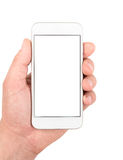 Mão que guarda o smartphone branco Fotografia de Stock Royalty Free