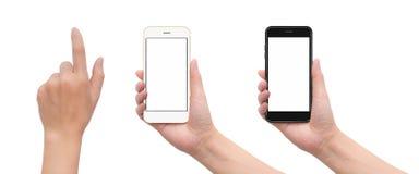 Mão que guarda o smartphone com gesto tocante da mão fotografia de stock