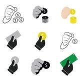 Mão que guarda o vetor do dinheiro e o grupo do ícone ilustração stock