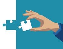Mão que guarda a parte de branco do enigma Illustratio do negócio do conceito imagens de stock