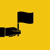 Mão que guarda a silhueta da bandeira Foto de Stock Royalty Free