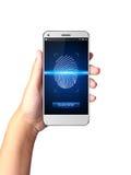 Mão que guarda Smartphone com varredores da impressão digital imagens de stock