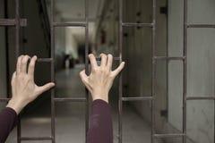 Mão que guarda sobre a gaiola com esperança imagens de stock royalty free