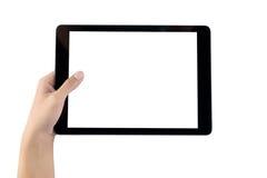 Mão que guarda a tela vazia da tabuleta Imagens de Stock Royalty Free