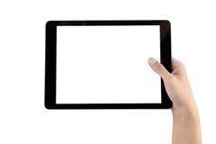 Mão que guarda a tela vazia da tabuleta Mão da mulher usando o isolat da tabuleta Imagem de Stock Royalty Free